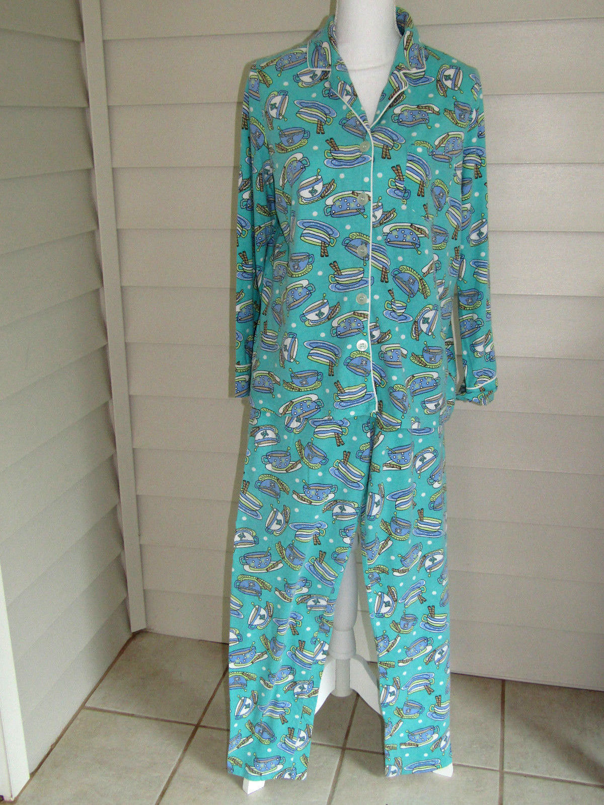 d12f4b2d835d Kim Rogers Multi Color Coffee Cups Cotton Blend Pajama Set Size L