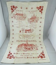 Vintage Colonial Williamsburg VA Kitchen Dish Towel Souvenir Wall Hangin... - $18.66