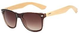 Shiratori Prevent Radiation Classic Bamboo Wood Sunglasses Brown - $20.18