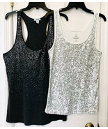 Old Navy Womens Cream With Silver & Gray On Gray Sequined 2 Set Tank Top... - $18.67
