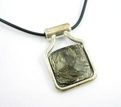 Gray Gem Pendant Black Cord Choker Necklace Vintage Faceted Plastic Silvertone - $16.99