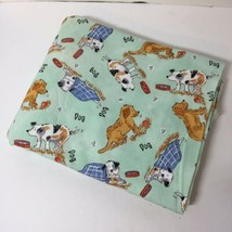 "2.5 Yards Dog Fabric 44"" wide Michael Miller Green Background Cotton - $21.28"