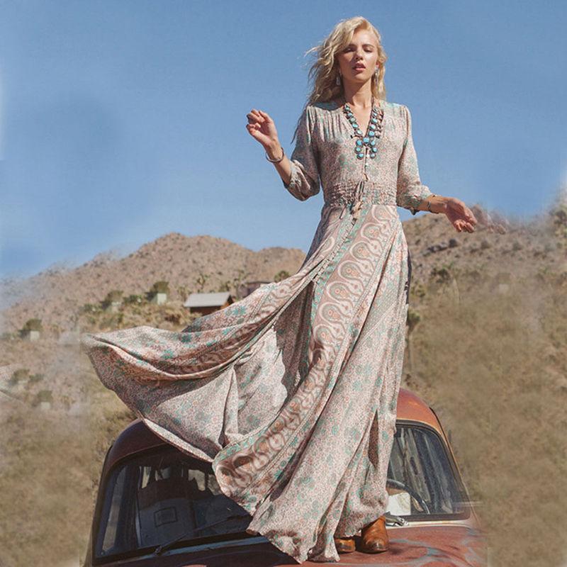 brand new boho retro printing dress women summer chiffon beach dresses long maxi dress sundress