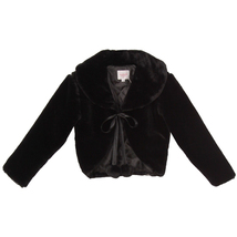 BLACK Super Soft Fur Coat with Quilted Lining and Satin Ribbon Front Closure - $29.95