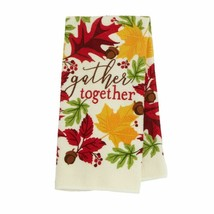 "Maple and Oak Leaves Set of 2 Kitchen Towels ""gather together""  NWT 14""... - $7.00"