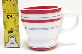 Starbucks Coffee 2007 Demi 3 Oz Espresso White Cup Mini Mug Red & Blue Striped - $18.95