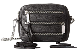 Rebecca Minkoff HF36EMOX66 4 Zip Moto Camera Bag Black Leather, MSRP $250 - $84.10