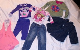 Lot BABY GIRLS CLOTHES 12 Months JACKETS Pajamas PANTS Shirts JEANS LEE ... - $11.97
