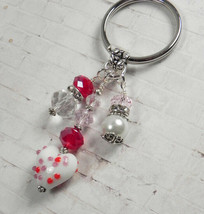 Heart Glass Crystal Rhinestone Beaded Handmade Split Ring Keychain White... - $16.48