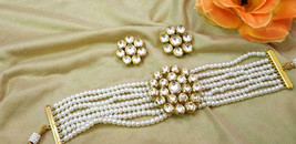 Indian Bollywood Ethnic Style Silver Pearl Beaded kundan Choker Necklace... - $72.00