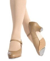 Capezio 561 Caramel Women 10 Wide Leather Tap Jr Footlight Buckle Tap Shoe - $49.99