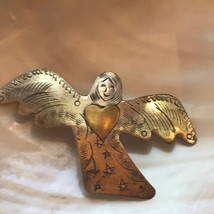 Estate Stamped Thin Silvertone ANGEL with Goldtone Heart Pin Brooch Pend... - $10.39