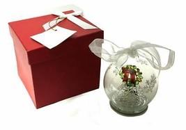 NEW KRINGLE EXPRESS ILLUMINATED HOLIDAY GLASS WREATH ORNAMENT W/GIFT BOX - $6.99