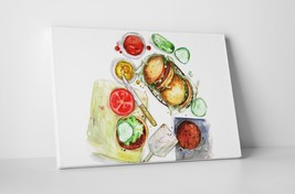 """Burger Anatomy Kitchen Wall Art Gallery Wrapped Canvas. 30""""x20 or 20""""x16"""" - $44.50+"""