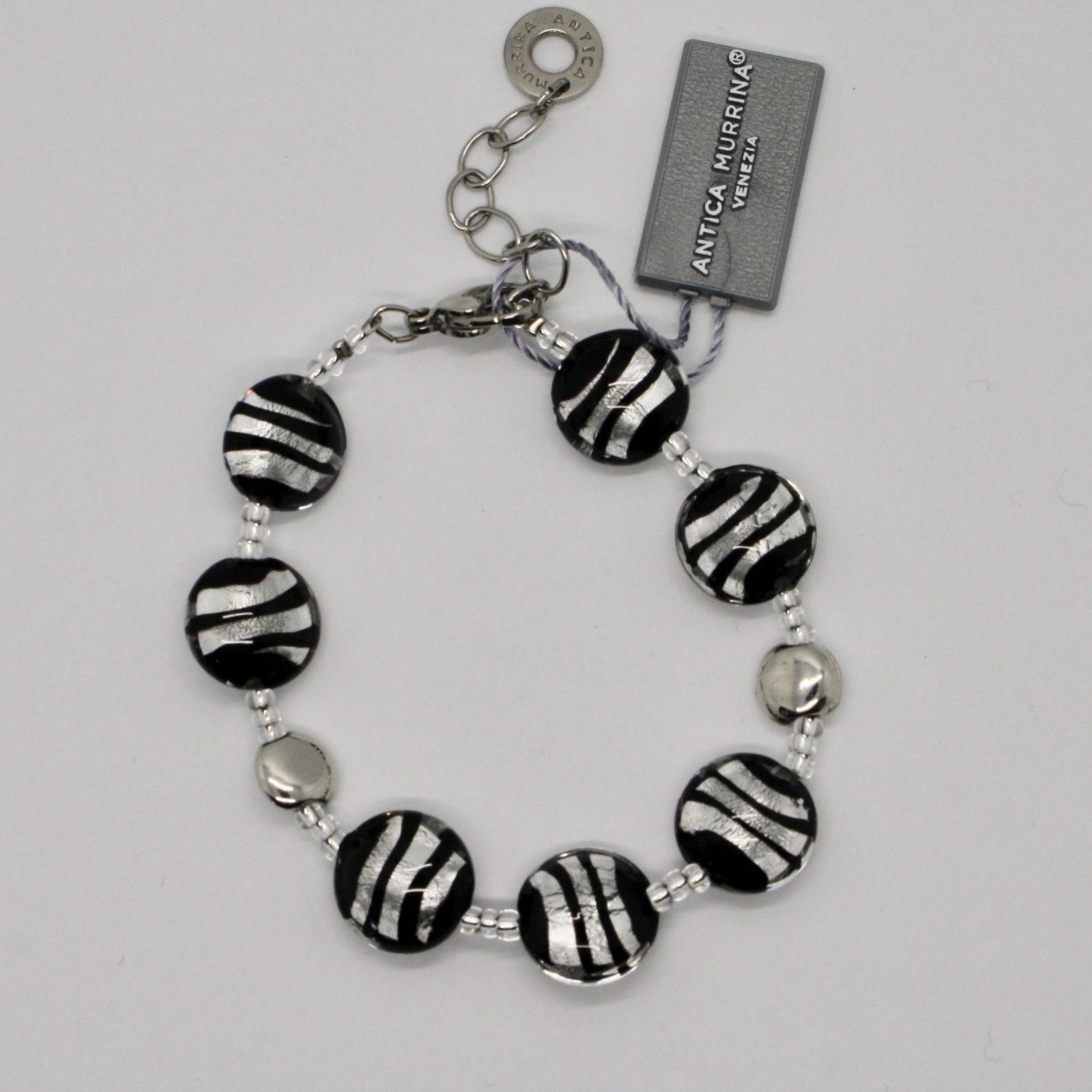 BRACELET ANTICA MURRINA VENEZIA WITH MURANO GLASS BLACK SILVER RIGHE BR297A15