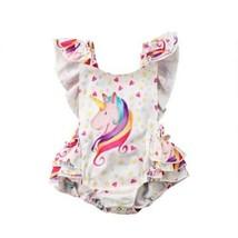 0-3Yrs Baby Girls Unicorn Backless Romper Newborn Kids Ruffles Jumpsuit ... - $10.68+