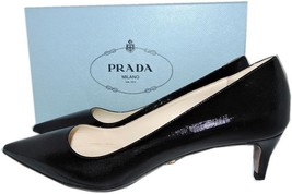 Prada Pointy Toe Black Saffiano Patent Leather Low Kitten Heel Pumps Sho... - $325.00
