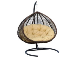 Double 2 Seat Wicker Hanging Chair Teardrop Resin Egg Swing Cushion Set ... - $791.90