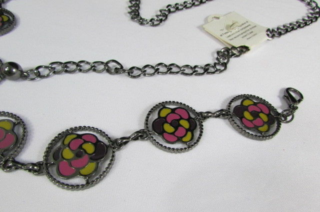 Donna Peltro Metallo Bling Moda Cintura Rosa Fiore Giallo Ciondolo Hip Vita S M image 6