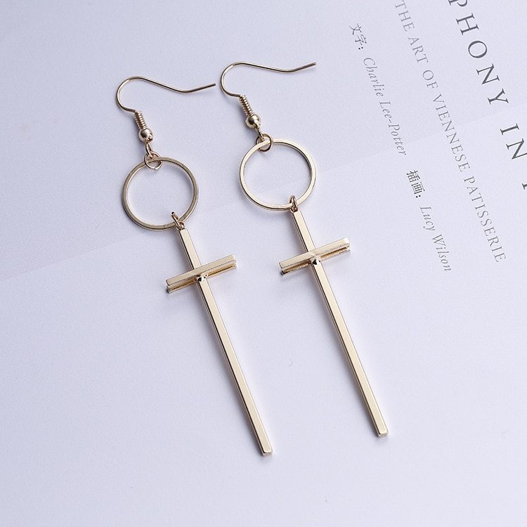 Korean Simple Style Cross Circle Long Drop Earrings for Women Bijoux Fashion Gol