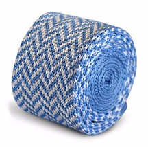 Frederick Thomas Knitted Skinny Light Blue and White Herringbone Tie FT3290