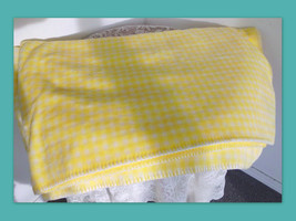 "DENALI Throw Blanket 60"" x 70"" Yellow Gingham Check Microplush Made in USA - $89.09"