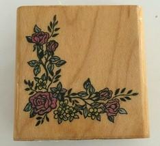 Comotion Flower Border #696 Corner Floral Rubber Stamp Card Making Crafts Art - $3.00