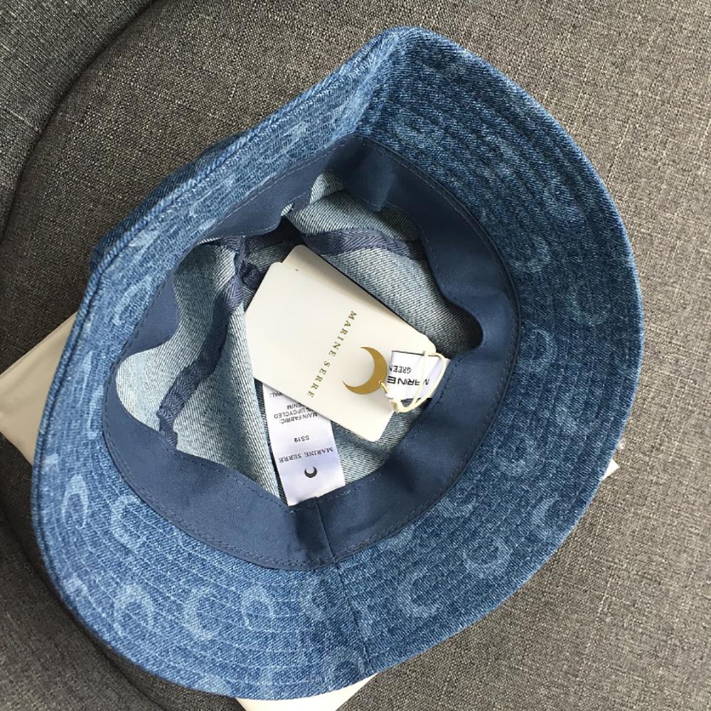 Marine Serre Half Moon Printed Denim Bucket Hat in Blue
