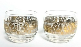 Vintage Georges Briard Sonota Gold Trimmed Roly Poly Glasses On the Rocks - $22.51