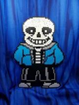 Sans Skeleton Undertale Battle Sprite IN COLOR Perler Bead wall art vide... - $148.50