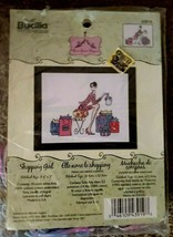 "Bucilla 8.5"" x 7""  Counted Cross Stitch Shopping Girl #43919 - $12.86"
