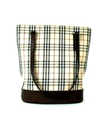 Auth BURBERRY Nova Check Nylon & Brown Leather Tote Semi Shoulder Hand B... - $177.21