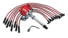 A-Team Performance HEI Distributor and Spark Plug Wires Set Straight Boot Red 8m