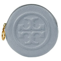 NWT TORY BURCH Perry Bombe Pouch Key Ring Bag Charm Cloud Blue Gold 75900 - $91.08