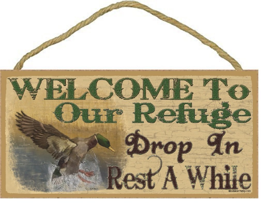 "Welcome To Our Refuge Mallard Duck Rustic Lodge Cabin Decor 5""x10"" Sign Plaque"