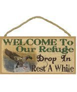 "Welcome To Our Refuge Mallard Duck Rustic Lodge Cabin Decor 5""x10"" Sign ... - £12.09 GBP"