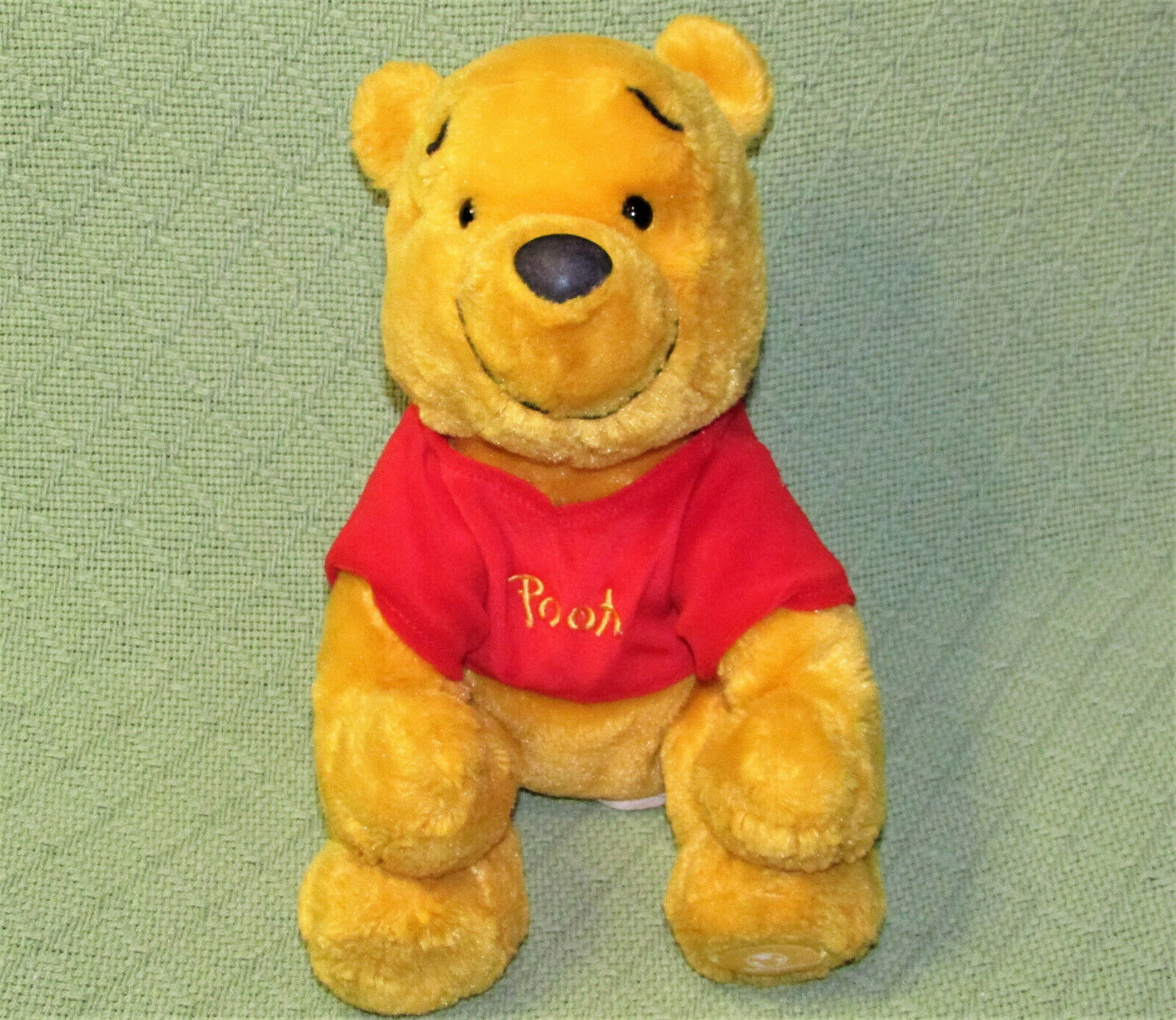 "Primary image for DISNEY STORE 10"" WINNIE THE POOH BEANBAG SOFT PLUSH STUFFED ANIMAL RED SHIRT"