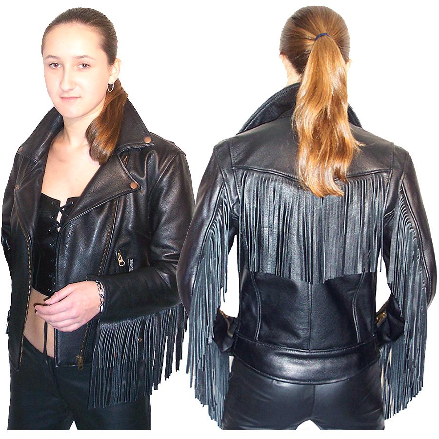 QASTAN Women's Western Leather Fringe Motorcycle / Biker JacketWWJ13