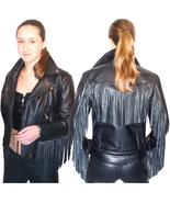 QASTAN Women's Western Leather Fringe Motorcycle / Biker JacketWWJ13 - $177.21+