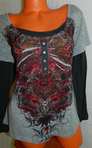 NWT ONE WORLD Top TUNIC Shirt 1X 16 18 Gray Red SUBLIMATION Festival BOH... - $37.12