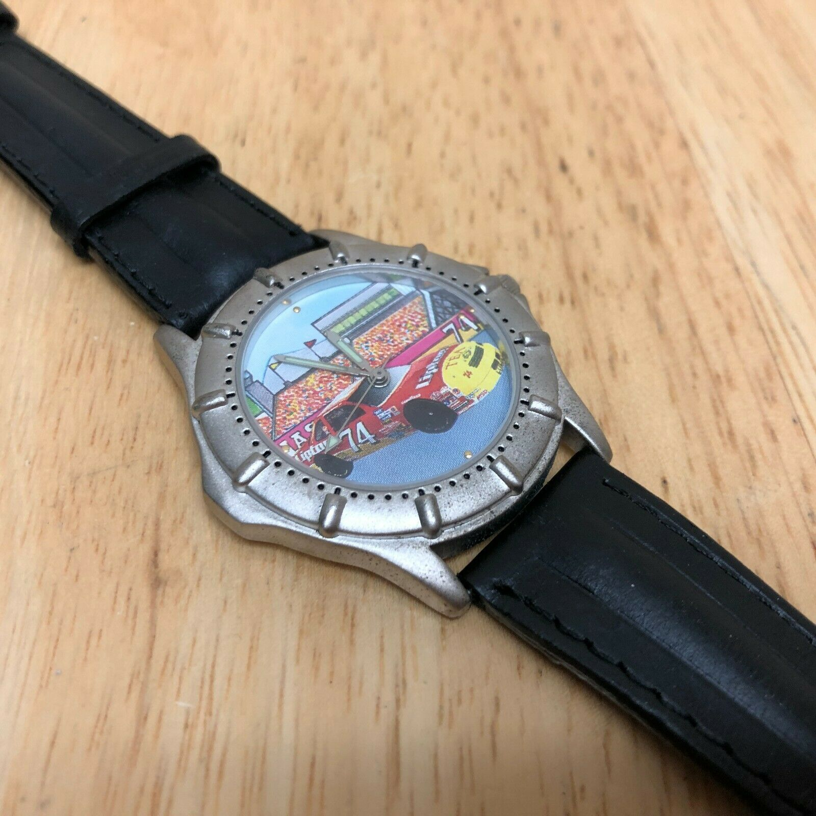 Vintage Lipton Tea Racing By Valdawn Mens Leather Quartz Watch Hours~New Battery image 3