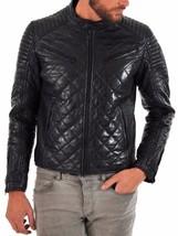 Men's Genuine Leather Quilted Motorcycle Jacket Slim fit Biker Jacket - FE - $114.99