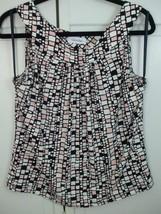 Calvin Klein Tank Top Sleeveless Pleated Front Scoop Neck Black White Pi... - $19.75