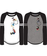 Disney Adult Falling Fab Four Goofy, Donald, Mickey Long Sleeve Baseball... - $16.99