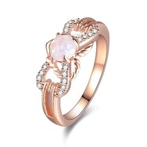 Gold Silver White Fire Opal Ring for Women Cubic Zirconia Gem Colorful R... - $8.58