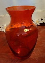 "Vintage 8"" Tall Red / Cranberry Clear Glass Vase"