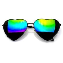 Cute Womens Metal Heart Shape Flash Mirrored Sunglasses - $7.12