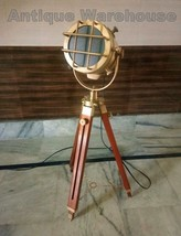 Brass Antique Studio Spotlight Floor Lamp With Wooden Tripod Nautical Fl... - $101.92