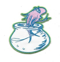 Dr. Seuss' Animated TV The Cat In The Hat Fish In A Bowl Embroidered Pat... - $9.74