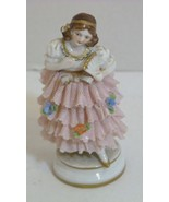 "Antique Muller Volkstedt (MV) German Dresden Lace Girl with Fan 3.5"" Fig... - $49.98"